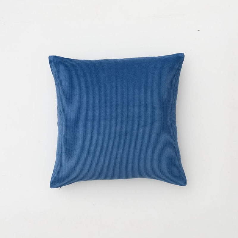 Organic cotton corduroy cushion in Blue - square