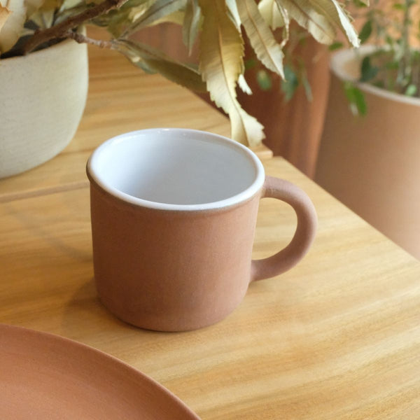 Lagos Del Mundo White Glazed Clay Mug (set of 2)