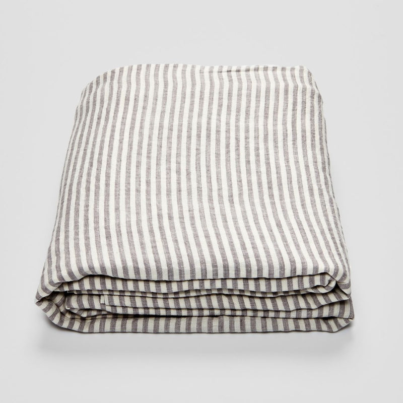 100% Linen Flat Sheet in Grey & White Stripe