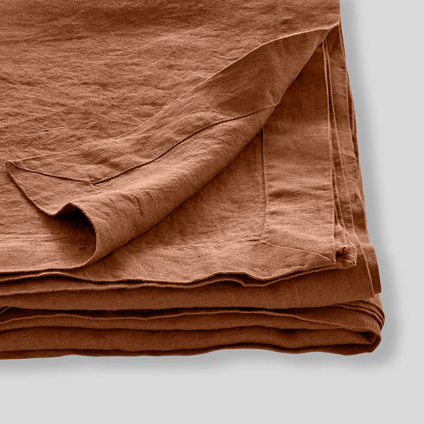100% Linen Table Cloth in Toffee