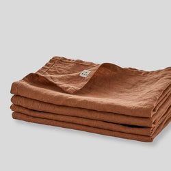 100% Linen Napkin Set in Toffee