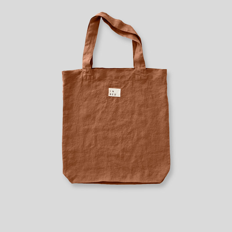 100% Linen Market Bag in Toffee