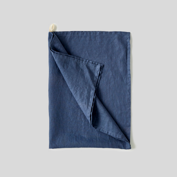 100% Linen Tea Towel in French Blue