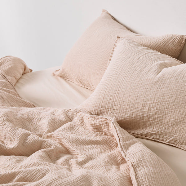 100% Organic Cotton Gauze Duvet Cover in Bone