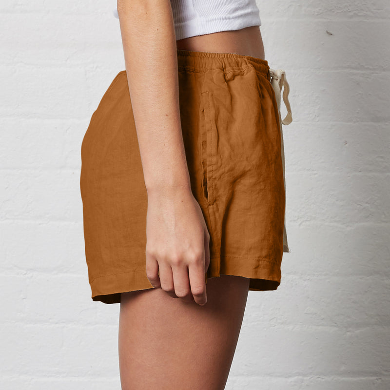 100% Linen Shorts in Clay