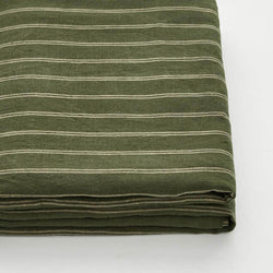 100% Linen Fitted Sheet in Olive & Peach stripe