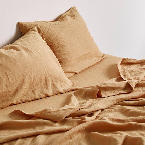 100% Linen Flat Sheet in Tan