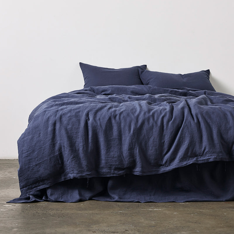 100% Linen Duvet Cover in Midnight Blue