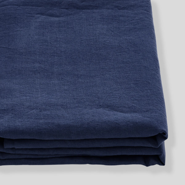 100% Linen Fitted Sheet in Midnight Blue