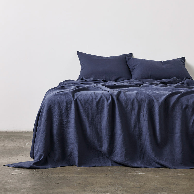 100% Linen Flat Sheet in Midnight Blue