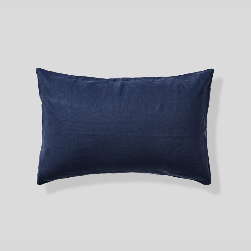 100% Linen Pillowslip Set (of two) in Midnight Blue
