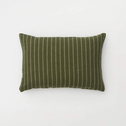 100% Linen Pillowslip Set (of two) in Olive & Peach stripe