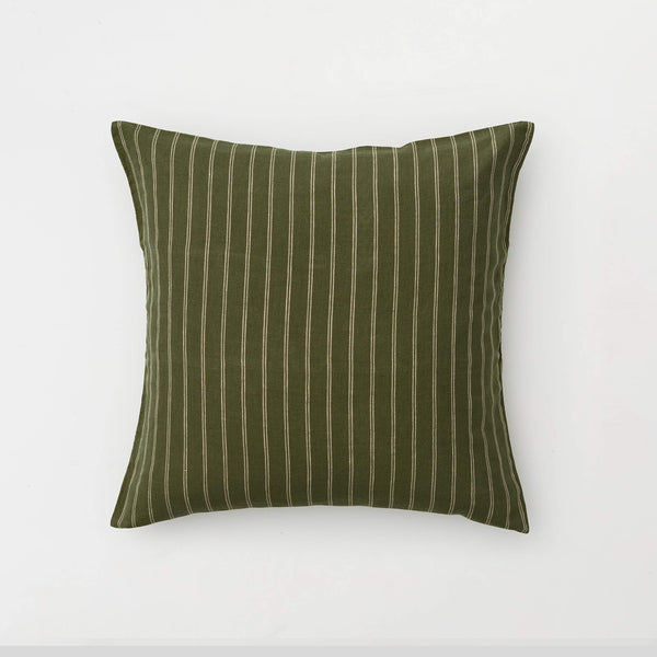 100% Linen Pillowslip Set (of two) in Olive & Peach stripe [Pre-order]