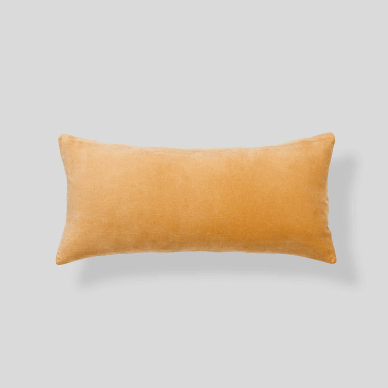 Organic cotton velvet  cushion in Turmeric - rectangle
