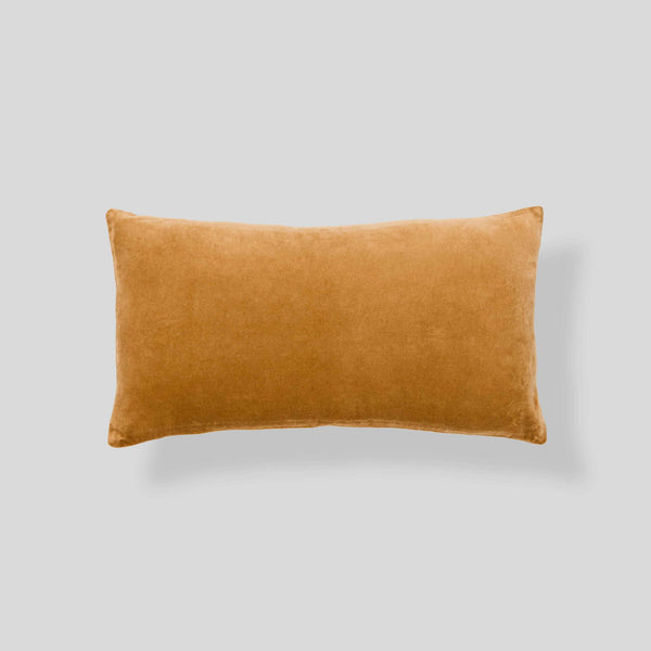Organic cotton velvet cushion in Camel - rectangle