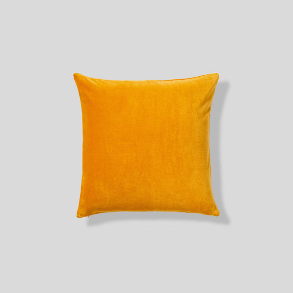 Organic cotton velvet cushion in Mustard - square