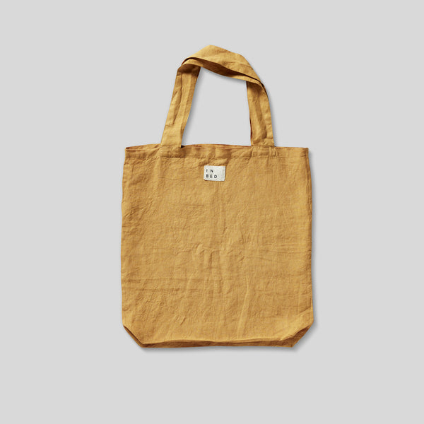 100% Linen Market Bag in Mustard