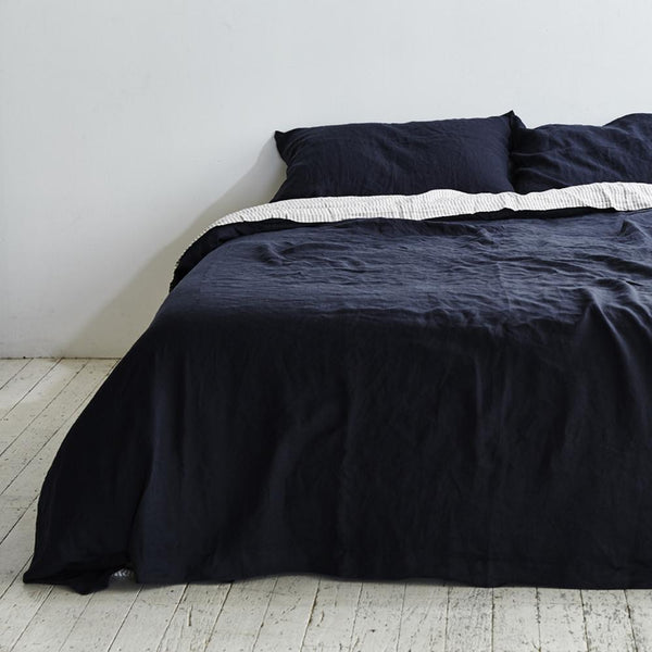 Linen Duvet Cover in Navy