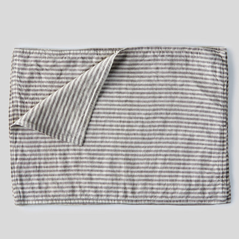 100% Linen Placemat Set in Grey & White Stripe