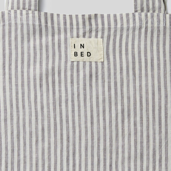100% Linen Market Bag in Stripe