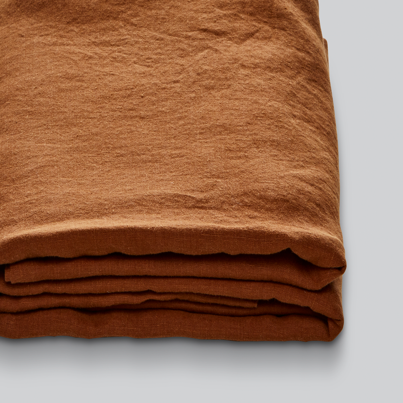 100% Linen Fitted Sheet in Tobacco