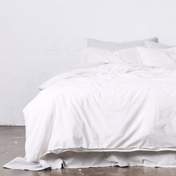 Washed Cotton Duvet Cover in Chalk