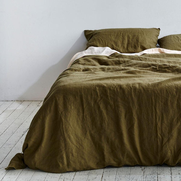 Linen Duvet Cover in Moss