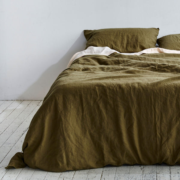 100% Linen Duvet Cover in Moss