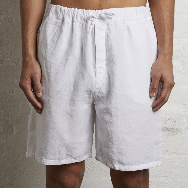100% Linen Shorts in White - Mens