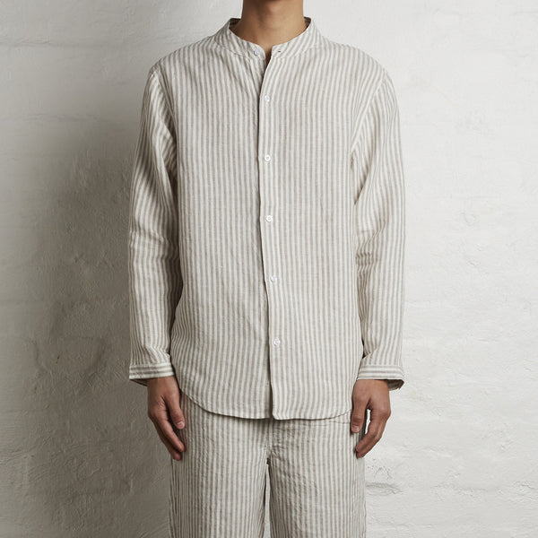 100% Linen Shirt in Grey & White Stripe - Mens