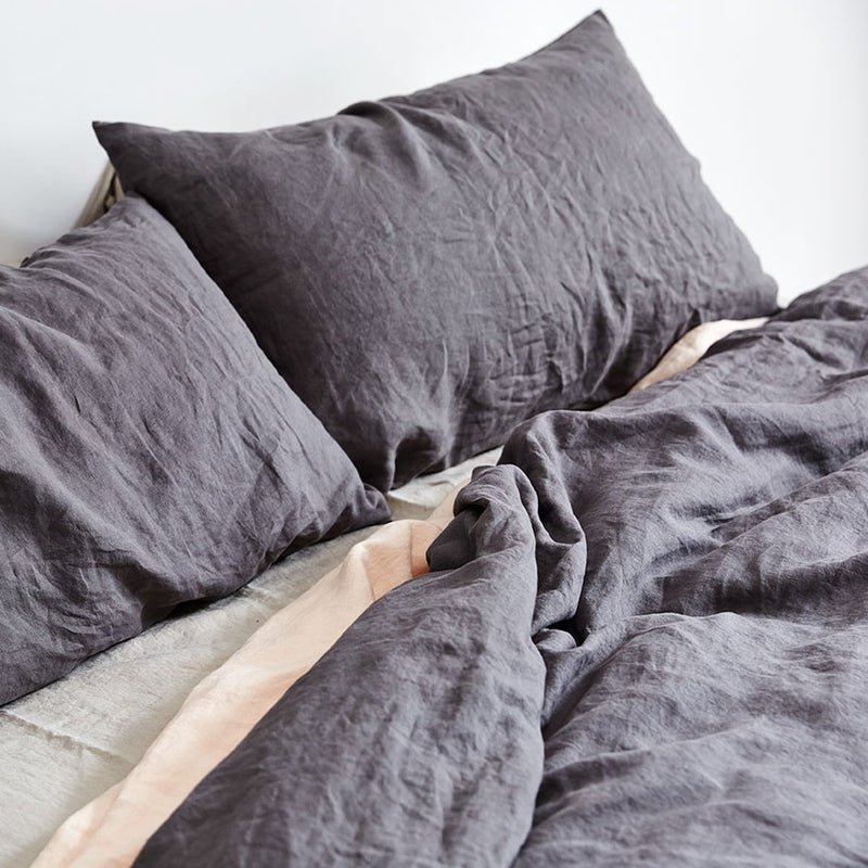 100% Linen Duvet Cover in Charcoal