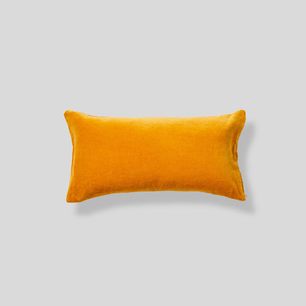 Organic cotton velvet cushion in Mustard - rectangle
