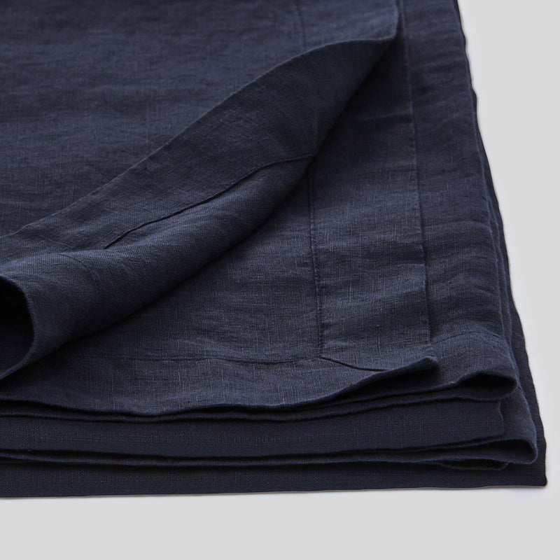 100% Linen Table Cloth In Navy