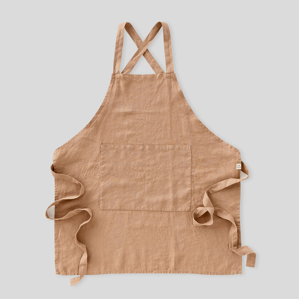 100% Linen Apron - Full Length in Chestnut