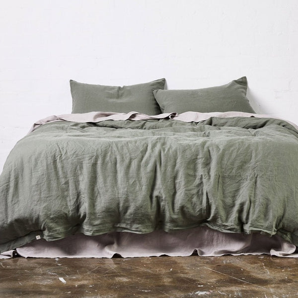 100% Linen Duvet Cover in Khaki