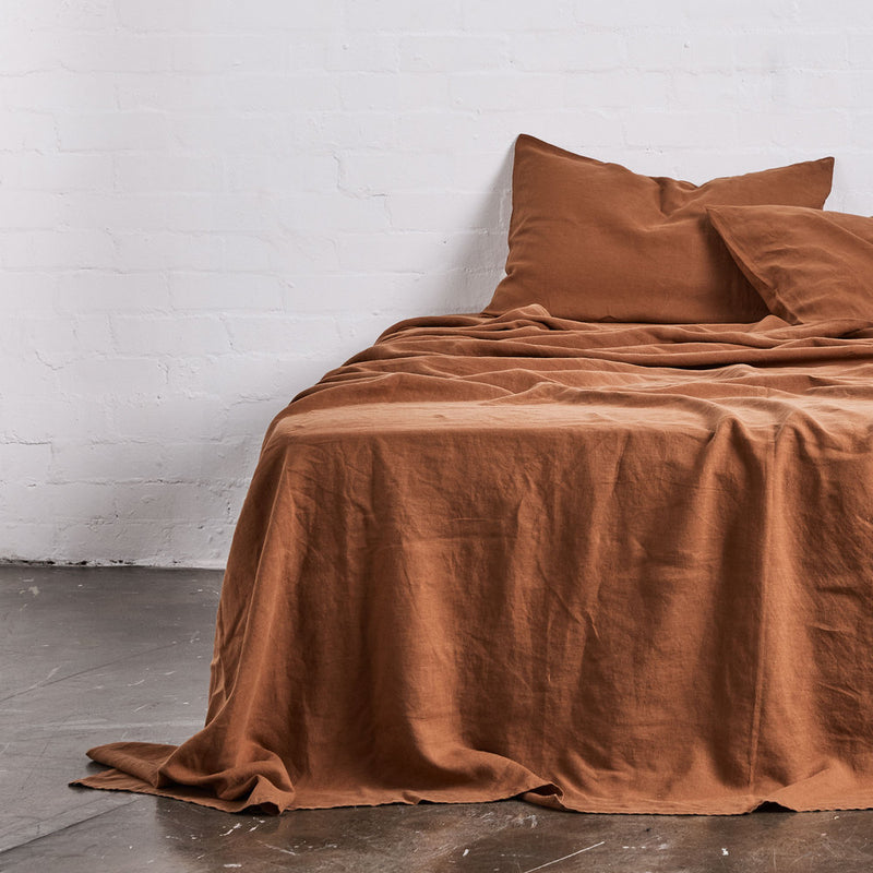 100% Linen Flat Sheet in Tobacco