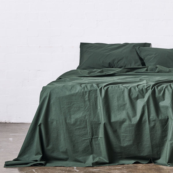 Washed Cotton Flat Sheet in Forest