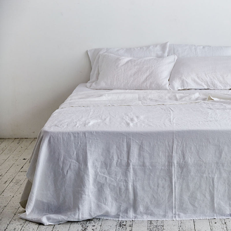 100% Linen Flat Sheet in White