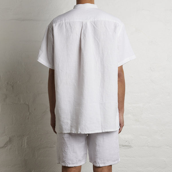 100% Linen Short Sleeve Shirt in White - Mens