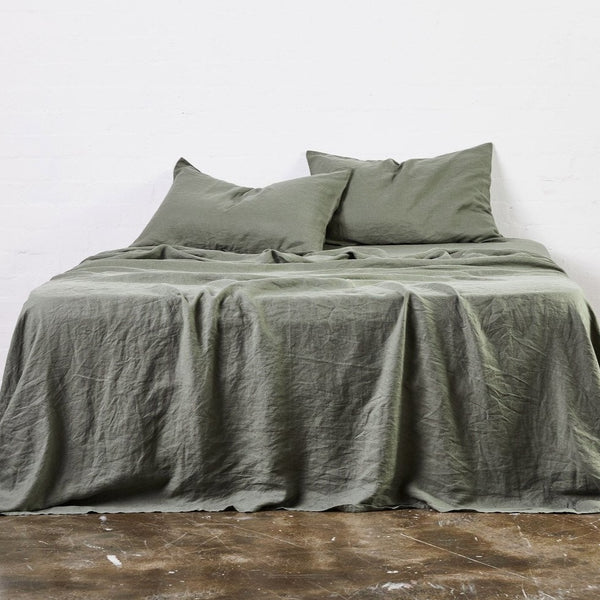 100% Linen Flat Sheet in Khaki
