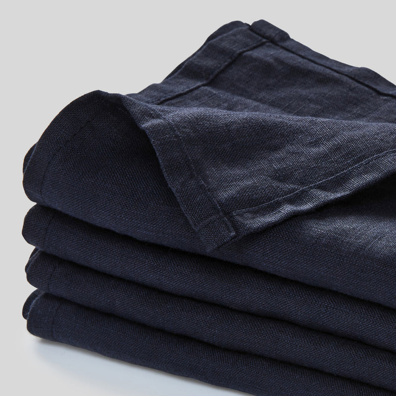 100% Linen Napkin Set in Navy