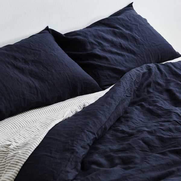 100% Linen Duvet Cover in Navy