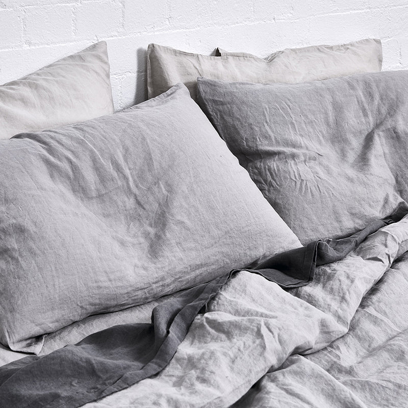 100% Linen Duvet Cover in Cool Grey