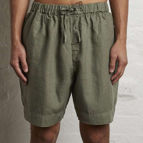 100% Linen Shorts in Khaki - Mens