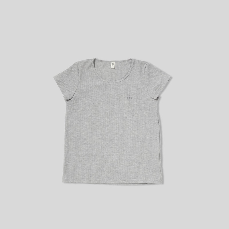 Embroidered grey waffle T shirt