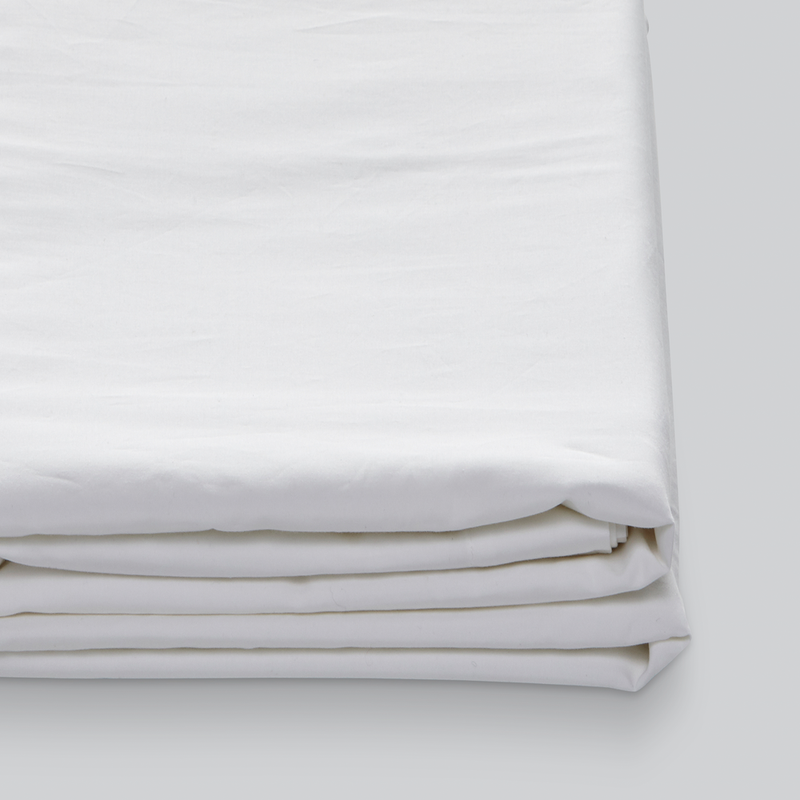 Percale Cotton Fitted Sheet in White