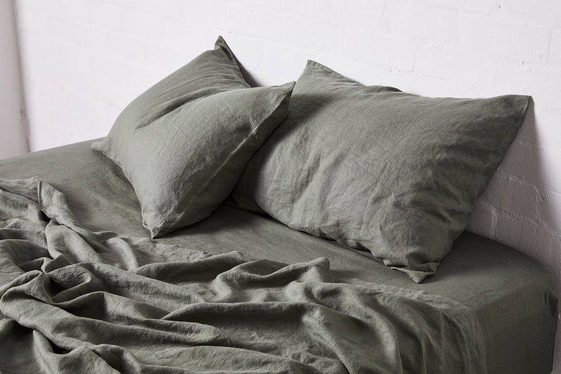 100% Linen Fitted Sheet in Khaki