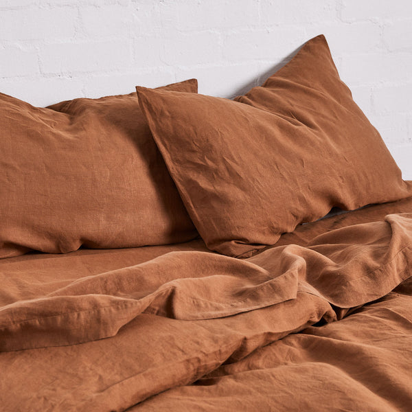 100% Linen Duvet Cover in Tobacco