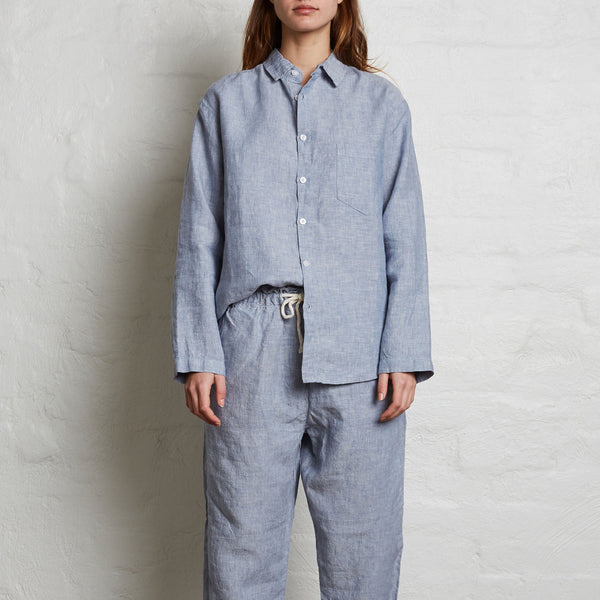 100% Linen Shirt in Blue