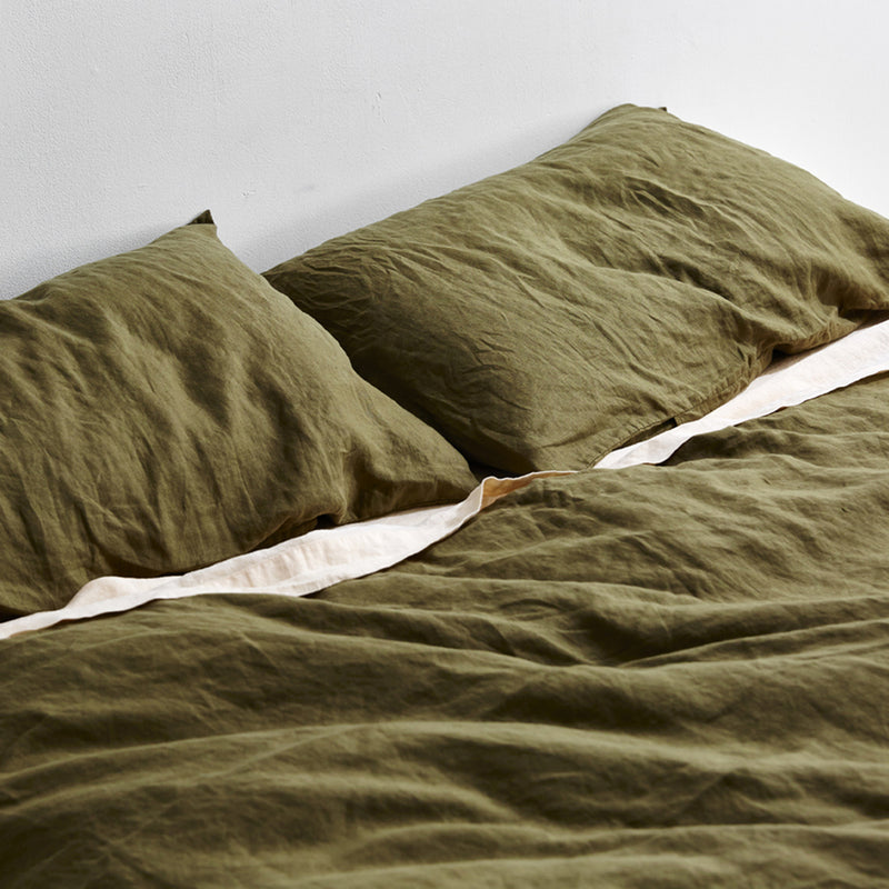 100% Linen Duvet Set in Moss